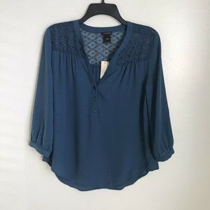 New Ann Taylor Factory Teal Popover Blouse